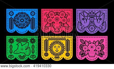 Vector Horizontal Banner With Traditional Mexican Flags For Paper Cutting. Various Patterns. Vector