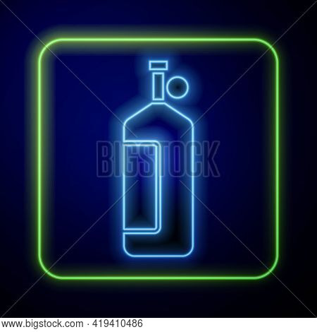 Glowing Neon Aqualung Icon Isolated On Blue Background. Oxygen Tank For Diver. Diving Equipment. Ext