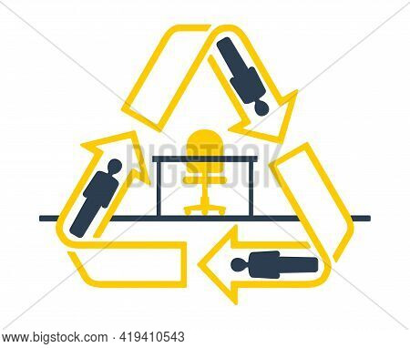 Employee Turnover In Human Resources As Recycling Emblem - Act Of Replacing A Worker With A New One,