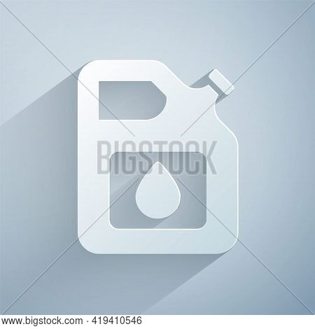 Paper Cut Canister For Gasoline Icon Isolated On Grey Background. Diesel Gas Icon. Paper Art Style.