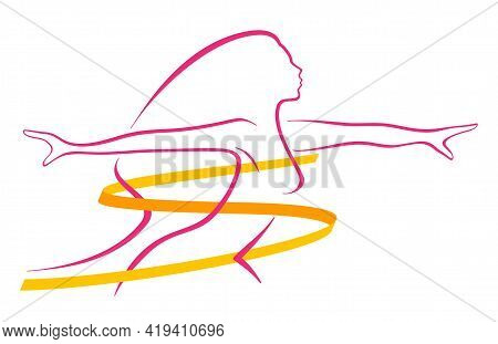 Losing Weight - Diet, Weight Loss, Fitness Or Liposaction Logo - Fat Woman Body In Dashed Line And S