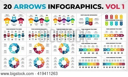 Arrows Vector Infographic. Vol 1. Presentation Slide Template. Circle Diagrams. Timelines With 3, 4,
