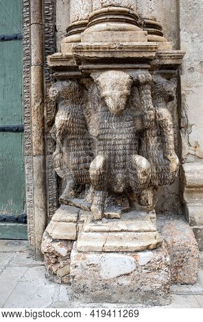 Sculptures From The Portal Of The Church Of Purgatorio In Gravina In Puglia. Italy