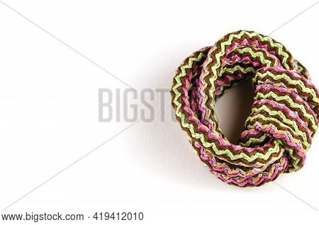 Multipurpose Propylene Rope On A White Background. Round Multicolored Braided Synthetic Fiber Cord R