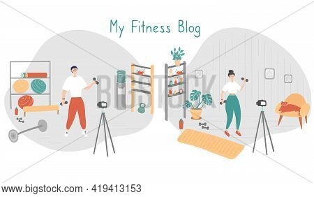 Fitness Blog Set. Trainer Records Videos For Her Followers. Remote Workout Concept. Sportswoman Trai