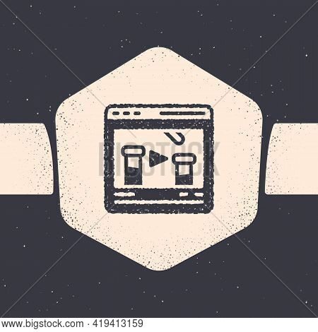 Grunge Chemical Experiment Online Icon Isolated On Grey Background. Scientific Experiment In The Lab