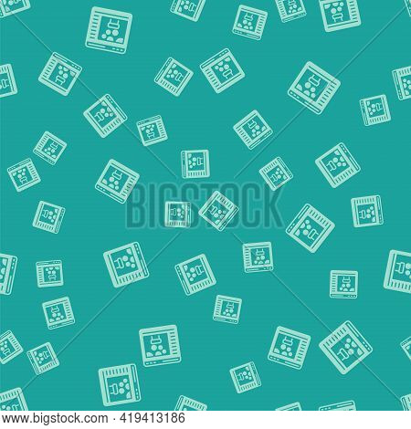 Green Chemical Experiment Online Icon Isolated Seamless Pattern On Green Background. Scientific Expe
