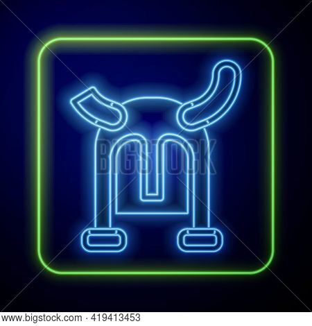 Glowing Neon Viking In Horned Helmet Icon Isolated On Blue Background. Vector