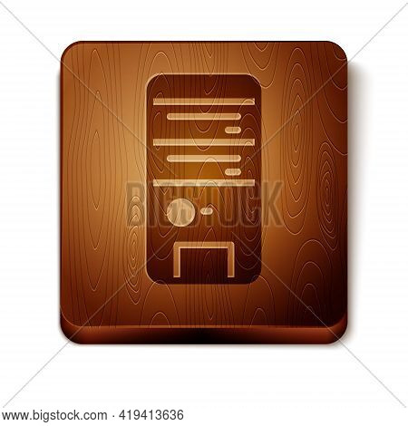 Brown Computer Icon Isolated On White Background. Pc Component Sign. Wooden Square Button. Vector