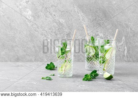 Mint And Lime Refreshing Mojito Cocktail With Ice, Refreshment Citrus Drink
