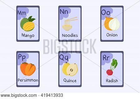 Colorful Alphabet Flashcard Letter M, N, O, P, Q, R - Mango, Noodles, Onion, Persimmon, Quince, Radi