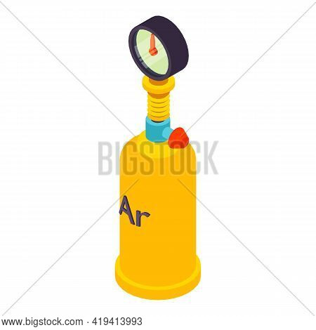 Gas Cylinder Icon. Isometric Illustration Of Gas Cylinder Vector Icon For Web