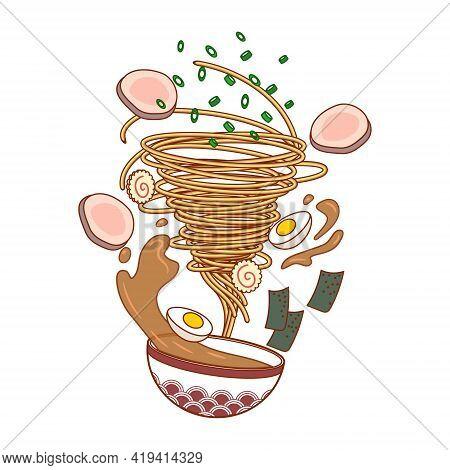 Vector Illustration Of Ramen. Noodles Tornado. Food.
