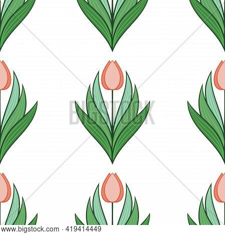 Seamless Pattern With Tulips In Flat Modern Style. Design From Multi-colored Tulips In Damascus Styl