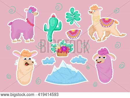 Colorful Sticker Set With Llamas. Cute Furry Wild Animals, Mountain, Clouds, Flowers, Cactus Isolate