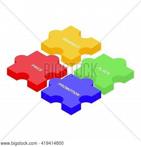 Marketing Mix Icon. Isometric Of Marketing Mix Vector Icon For Web Design Isolated On White Backgrou