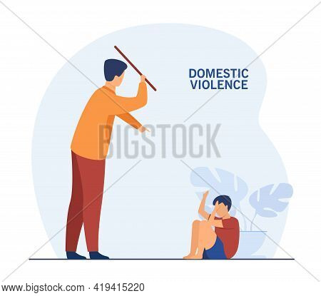 Father Punishing His Child At Home. Flat Vector Illustration. Man Punishing His Son For Wrongdoing,