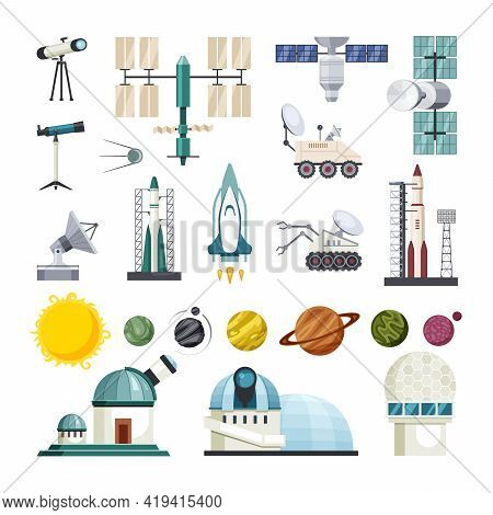 Space Education For Exploring Traveling Set. Planetary Tracked Scout Drones And Observatories With P