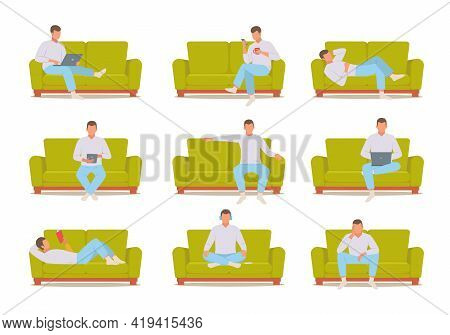 Man On Sofa Set. Male Character In White Sweater Works Laptop On Green Ottoman Reads Interesting Boo
