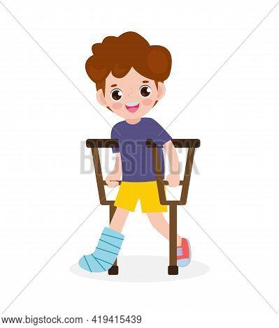 Asian Kid Injured With Broken Leg In Gypsum. Little Children Standing On Crutches, Cartoon Teen Disa