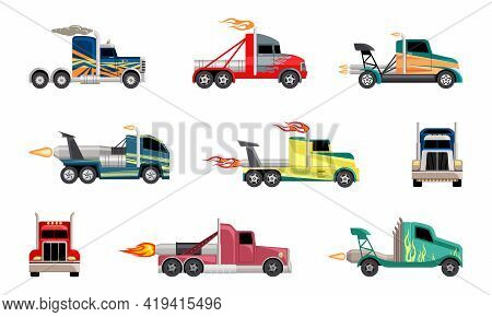 High Speed Heavy Trucks Set. Cars With Powerful Jet Engines Fashionable Coloring For Extreme Futuris