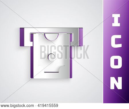 Paper Cut Atm - Automated Teller Machine And Money Icon Isolated On Grey Background. Paper Art Style