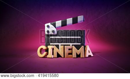 Cinema director clapper and letters made of modeling clay. Online movie theater. Filmmaking concept. Motion picture industry property at bright colourful background. 3d rendered illustration.