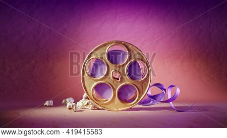 Film cinema disk with film-strip and popcorn made of clay on bright colourful background. 3d rendered illustration. Online moview theater concept.