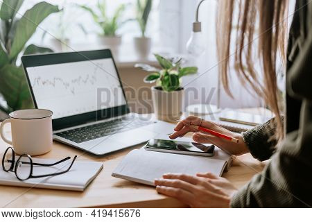 Distance Learning Online Education And Work. Business Woman Texting At Mobile Cell Phone, Writes In