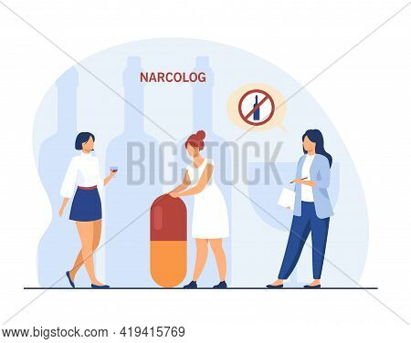 Addiction Therapist Giving Recommendations. Flat Vector Illustration..narcologist Forbidding Alcohol