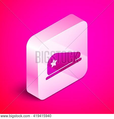 Isometric Military Beret Icon Isolated On Pink Background. Soldiers Cap. Army Hat. War Baret. Silver