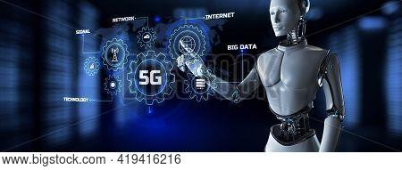 5g Wireless Internet Connection Telecommunication Concept. Robot Pressing Button On Screen 3d Render