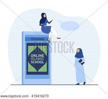 Two Women In Hijabs Discussing Online Education. Flat Vector Illustration. Tiny Islamic Or Muslim Wo