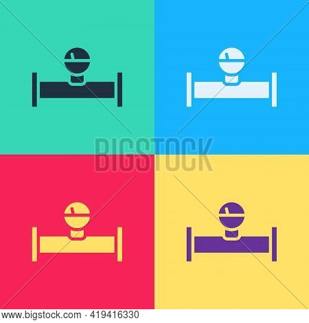 Pop Art Industry Metallic Pipe And Manometer Icon Isolated On Color Background. Vector