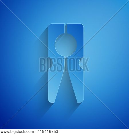 Paper Cut Old Wood Clothes Pin Icon Isolated On Blue Background. Clothes Peg. Paper Art Style. Vecto