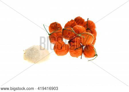 Close Up View Of Orange Boilies, Fishing Baits For Carp Isolated On White Background