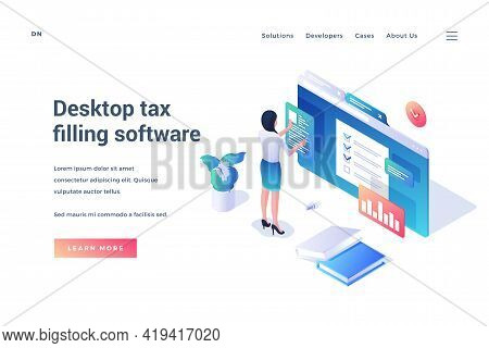 Desctop Tax Filling Software. Isometric Vector Illustration. Woman Standing In Front Of Huge Browser