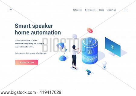 Smart Speaker Home Automation. Voice Assistant Concept. Isometric Landing Page Template. Woman Stand