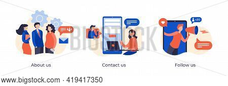 About Us, Contact Us And Follow Us Concept Flat Illustration For Corporate Website Pages. Corporate
