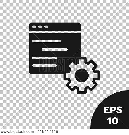 Black Computer Api Interface Icon Isolated On Transparent Background. Application Programming Interf