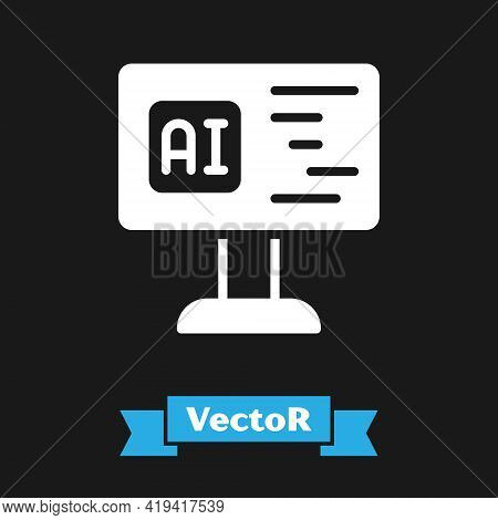 White Software, Web Developer Programming Code Icon Isolated On Black Background. Javascript Compute
