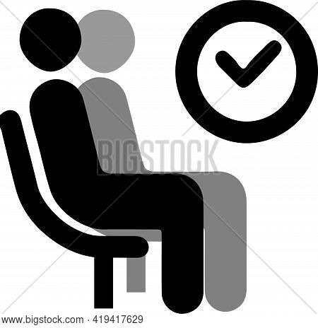 Waiting Icon On White Background , Seat, Seating, Sick, Sign