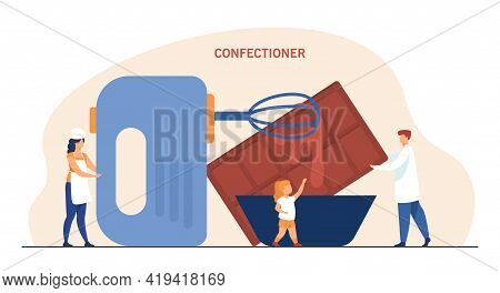 Tiny Confectioners Cooking With Huge Mixer, Bowl And Chocolate. Flat Vector Illustration. Confection