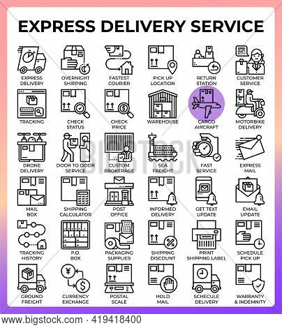 Express Delivery Service Concept Line Icons Set In Modern Style For Ui, Ux, Web, App, Brochure, Flye