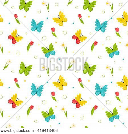 Seamless Pattern With Bright Colorful Butterflies And Red Tulips And Daffodils. Bright Spring, Summe