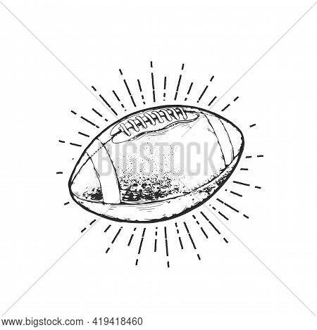 American Football Ball Emblem Design, Rugby Sign