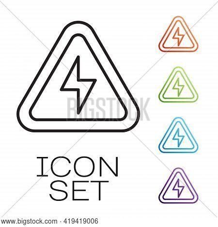 Black Line High Voltage Icon Isolated On White Background. Danger Symbol. Arrow In Triangle. Warning