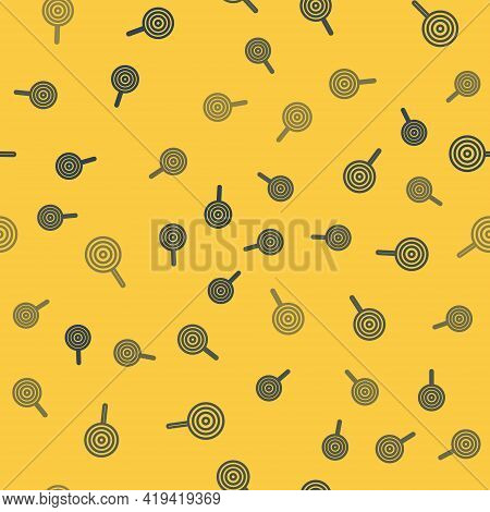 Blue Line Lollipop Icon Isolated Seamless Pattern On Yellow Background. Candy Sign. Food, Delicious