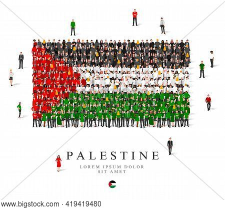 A Large Group Of People Are Standing In Black, Green, White And Red Robes, Symbolizing The Flag Of P