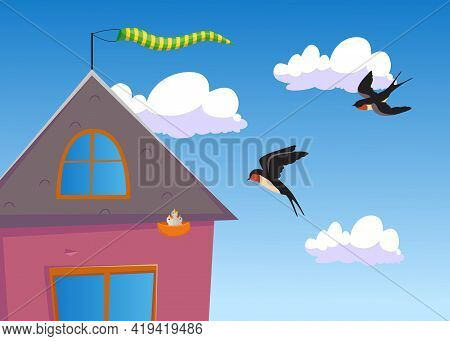 Two Cartoon Swallows Flying To Their Nest. Flat Vector Illustration. Swallows Flying To Their Nest U